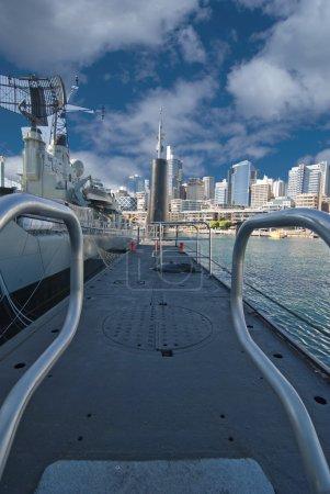 War Submarine anchored in Sydney