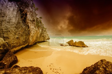 Storm on Tulum Coast of Mexico