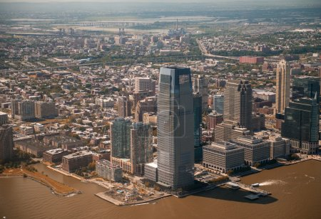 Jersey City, NJ: Beautiful aerial view of the city from helicopter