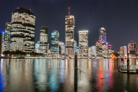Brisbane, Australia. Beautiful night city skyline with river
