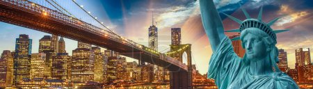Photo for Statue of Liberty - New York , with Brooklyn Bridge and Manhattan background. - Royalty Free Image