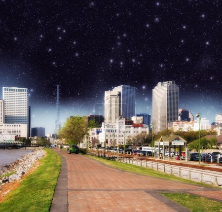 Photo for Night view of New Orleans skyline. - Royalty Free Image