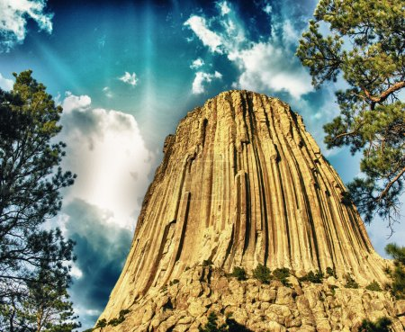 Devils Tower, Wyoming. The Black Hills on a summer sunset