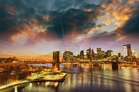 Photo for New York City - Manhattan skyline at winter sunset - USA - Royalty Free Image