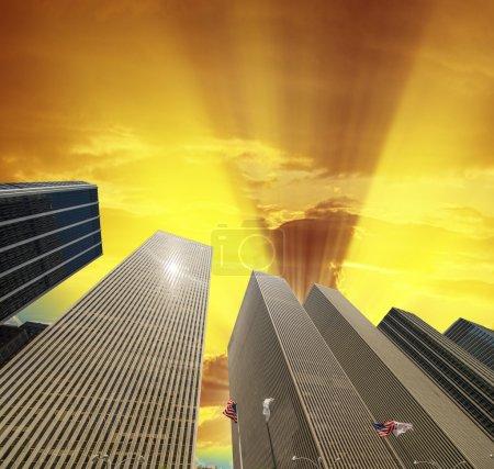 Row of modern skyscrapers in New York. Upward view of Manhattan