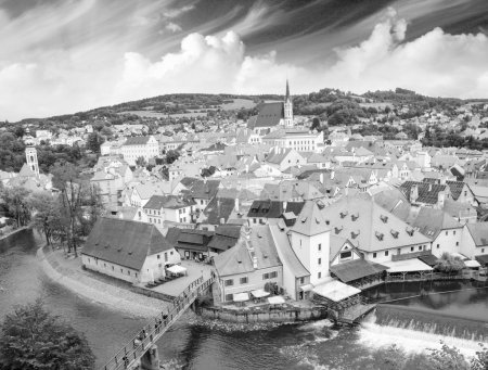 Cesky Krumlov aerial view with medievalo architecture