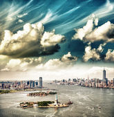Beautiful sky over New York. Statue of Liberty