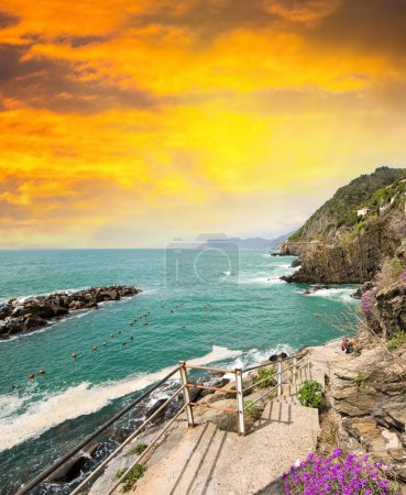 Italian Rocky Coast at sunset