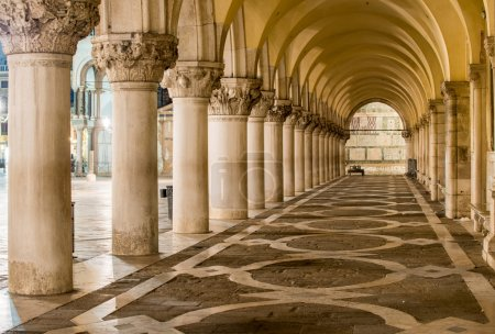 Ancient Columns in Venice. Arches in Piazza San Ma...