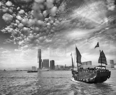 Aqua Luna sailing ship crossing the Hong Kong-Kowloon