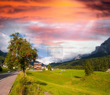 Meadows and mountains of Dolomites