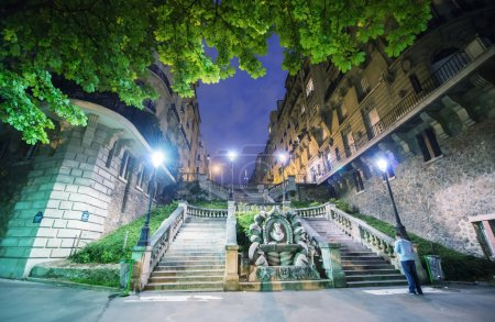 Paris. Illuminated stairs in Boulevard Delessert