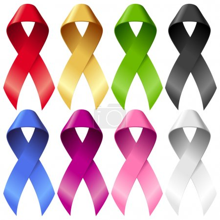 Illustration for Vector breast ribbons set. Red, yellow, green, blue, purple, pink and black bands isolated on white background - Royalty Free Image