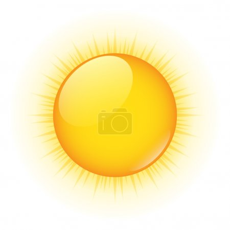 Illustration for Vector icon of yellow sun on white - Royalty Free Image