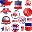 Made in the USA. Set of vector graphic icons and l...