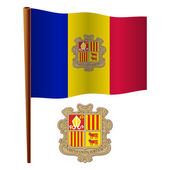 Andorra wavy flag and coat of arms against white background vector art illustration image contains transparency