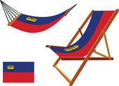Liechtenstein hammock and deck chair set against white background abstract vector art illustration