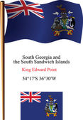 South georgia and south sandwich islands wavy flag and coordinates against white background vector art illustration image contains transparency