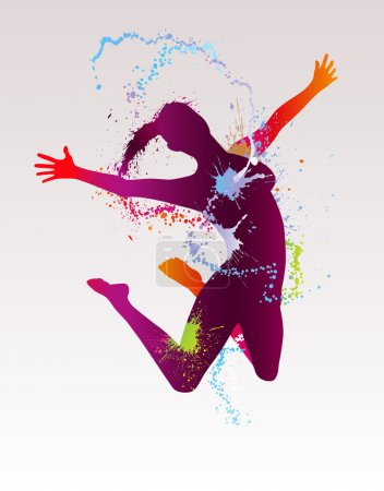 The dancing girl with colorful splashes. Vector illustration.