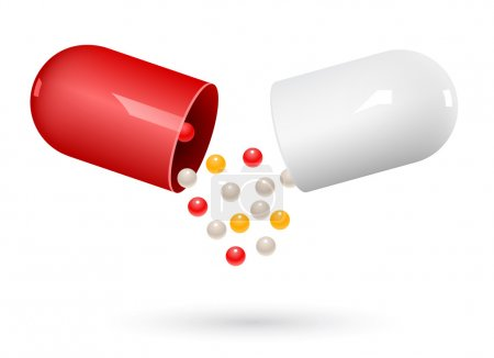 Red and white capsule pills on white. Vector Illustration