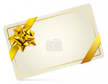 Gift Card with Gold Bow. Vector illustration.