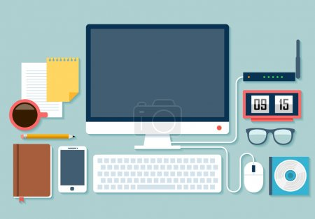 Illustration for Flat design stylish vector illustration of routine organization of modern business workspace in the office. - Royalty Free Image