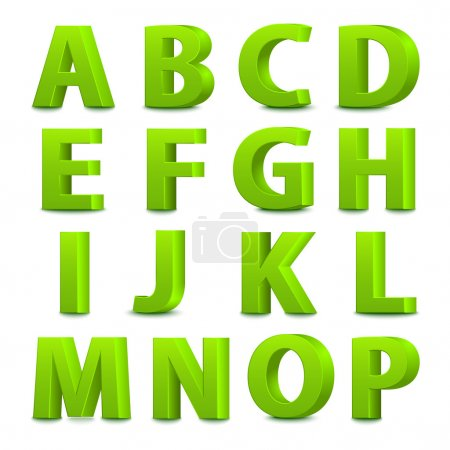 Illustration for 3D font, big green letters standing. Vector illustration - Royalty Free Image