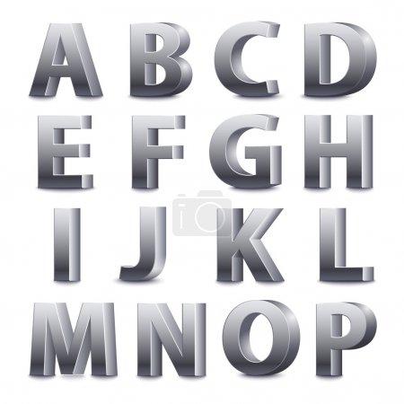 Illustration for 3D font, big metal letters standing. Vector illustration - Royalty Free Image