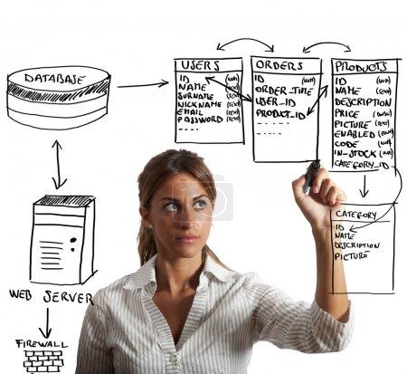 Photo pour Structure de base de données dessin femme d'affaires - image libre de droit