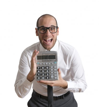 Businessman show calculator with positive value...