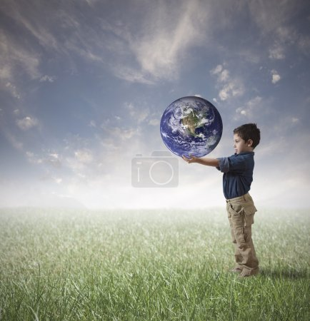 Photo for Young man try to save the world - Royalty Free Image