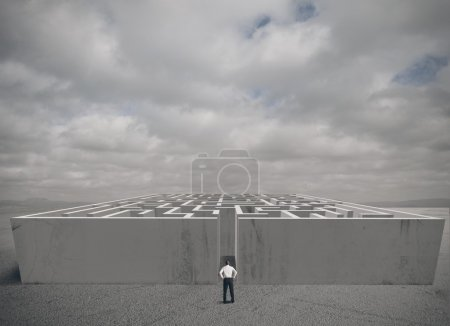 Photo for Businessman and maze challenge concept - Royalty Free Image
