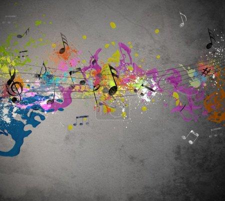 Photo pour Grunge musicale avec fond de pulvérisation - image libre de droit