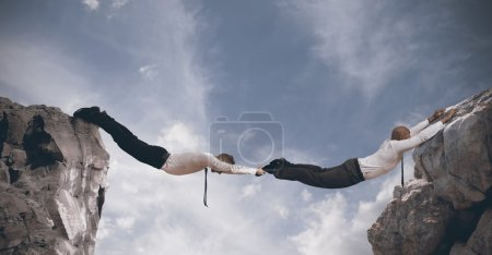 Photo for Concept of partnership with businesspeople like a bridge - Royalty Free Image
