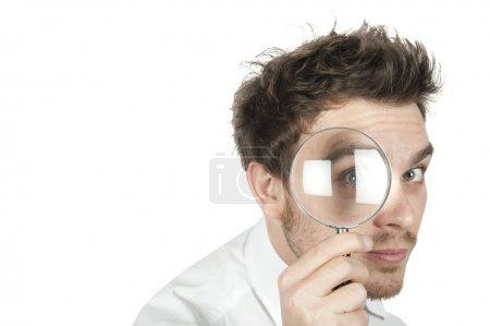 Foto de Gerente de búsqueda de negocios en fondo blanco - Imagen libre de derechos