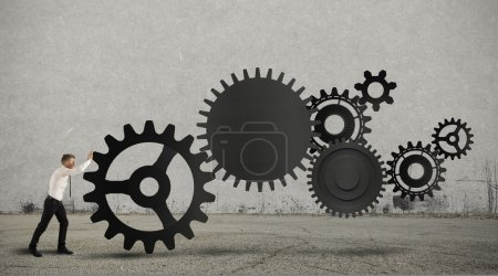Photo for Concept of business in action with gear system - Royalty Free Image
