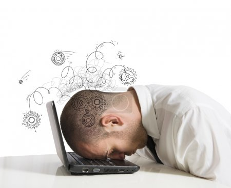 Photo for Concept of stress with businessman sleeping on a laptop - Royalty Free Image