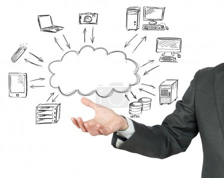 Photo for Virtual cloud compute network concept - Royalty Free Image