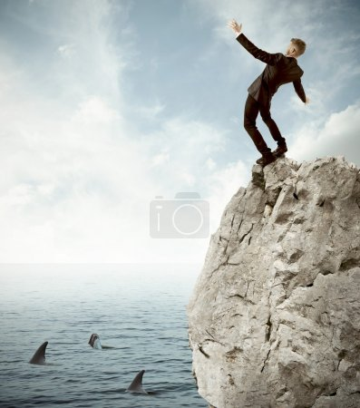 Photo for Concept of risk in business with falling businessman - Royalty Free Image