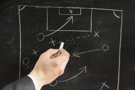 Photo for Drawing a Soccer strategy schema in a blackboard - Royalty Free Image