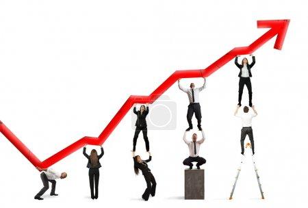 Photo pour Travail d'équipe et profit des entreprises avec tendance statistique rouge - image libre de droit
