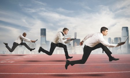Photo for Competition in business concept with running businesspeople - Royalty Free Image