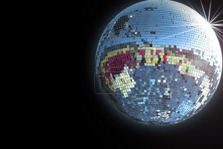 Shiny disco ball on black background