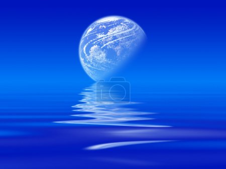 Reflected moon on the sea