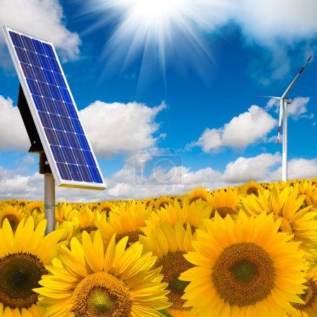 Foto de Concepto de energía alternativa con panel solar y turbina eólica - Imagen libre de derechos