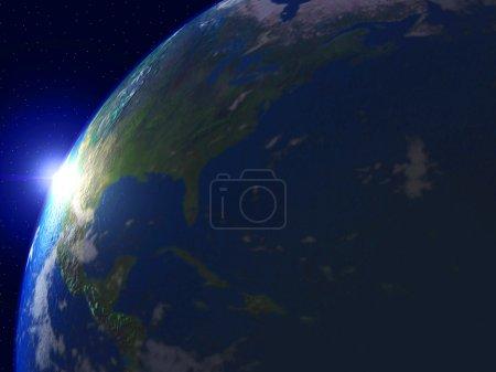 Photo pour Monde avec le soleil et l'univers - image libre de droit