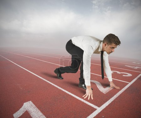 Photo for Businessman ready to start the competition - Royalty Free Image