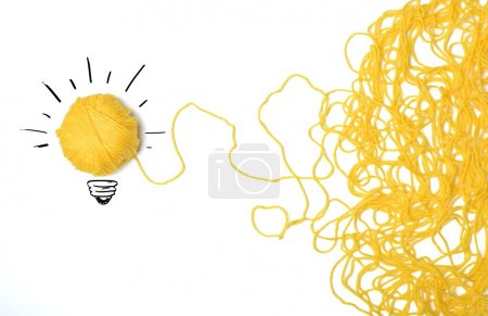 Photo for Concept of idea and innovation with wool ball - Royalty Free Image