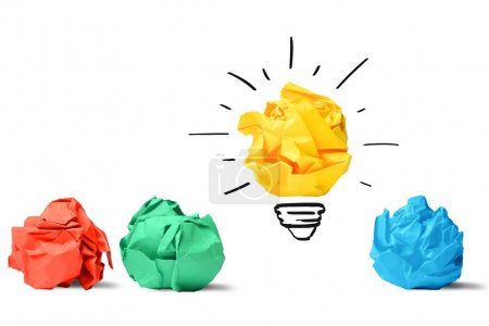 Concept of idea and innovation with paper ball...