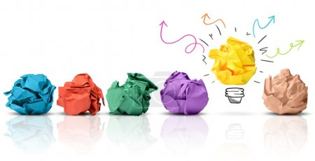 Photo for Concept of idea with colorful crumpled paper - Royalty Free Image